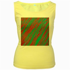 Red and blue pattern Women s Yellow Tank Top