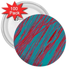Red and blue pattern 3  Buttons (100 pack)