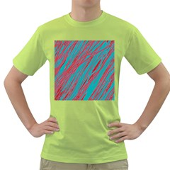 Red and blue pattern Green T-Shirt