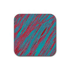 Red and blue pattern Rubber Coaster (Square)