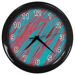 Red and blue pattern Wall Clocks (Black)