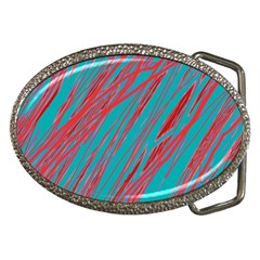 Red and blue pattern Belt Buckles