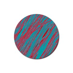Red and blue pattern Rubber Coaster (Round)