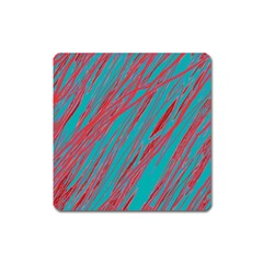 Red and blue pattern Square Magnet