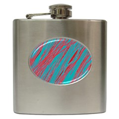 Red and blue pattern Hip Flask (6 oz)