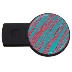 Red and blue pattern USB Flash Drive Round (1 GB)