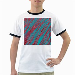 Red and blue pattern Ringer T-Shirts