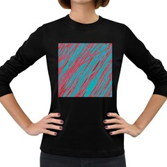 Red and blue pattern Women s Long Sleeve Dark T-Shirts