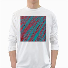Red and blue pattern White Long Sleeve T-Shirts