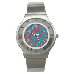 Red and blue pattern Stainless Steel Watch