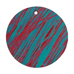 Red and blue pattern Round Ornament (Two Sides)