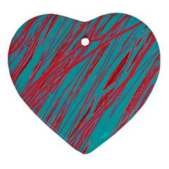 Red and blue pattern Heart Ornament (2 Sides)