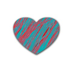 Red and blue pattern Rubber Coaster (Heart)