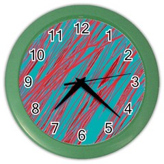 Red and blue pattern Color Wall Clocks