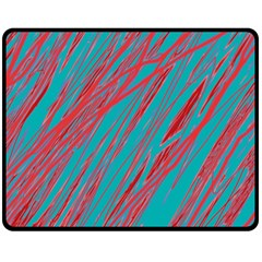 Red and blue pattern Fleece Blanket (Medium)