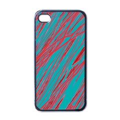 Red and blue pattern Apple iPhone 4 Case (Black)