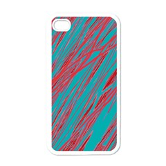 Red and blue pattern Apple iPhone 4 Case (White)