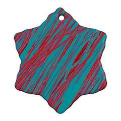 Red and blue pattern Snowflake Ornament (2-Side)