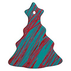 Red and blue pattern Christmas Tree Ornament (2 Sides)