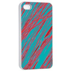 Red and blue pattern Apple iPhone 4/4s Seamless Case (White)