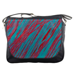 Red and blue pattern Messenger Bags