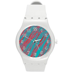 Red and blue pattern Round Plastic Sport Watch (M)