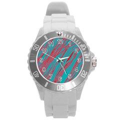 Red and blue pattern Round Plastic Sport Watch (L)