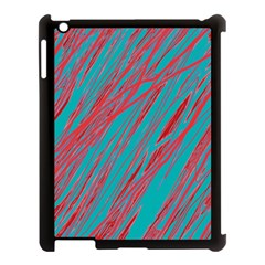 Red and blue pattern Apple iPad 3/4 Case (Black)