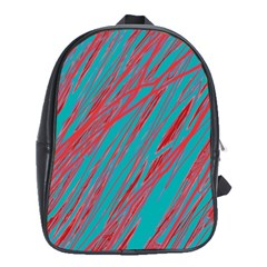 Red and blue pattern School Bags (XL)