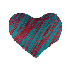 Red and blue pattern Standard 16  Premium Heart Shape Cushions