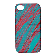 Red and blue pattern Apple iPhone 4/4S Hardshell Case with Stand