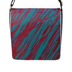 Red and blue pattern Flap Messenger Bag (L)