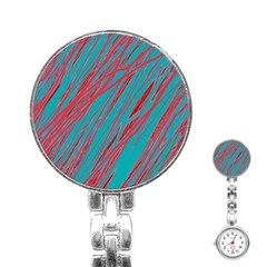 Red and blue pattern Stainless Steel Nurses Watch