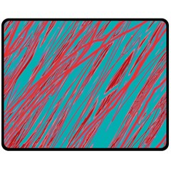 Red and blue pattern Double Sided Fleece Blanket (Medium)