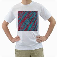 Red and blue pattern Men s T-Shirt (White)