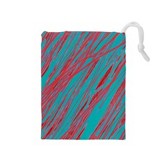Red and blue pattern Drawstring Pouches (Medium)
