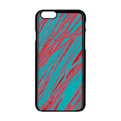 Red and blue pattern Apple iPhone 6/6S Black Enamel Case