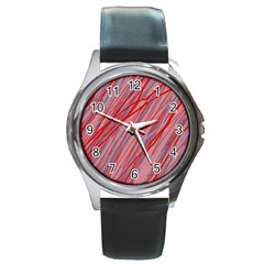 Pink and red decorative pattern Round Metal Watch