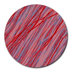 Pink and red decorative pattern Round Mousepads