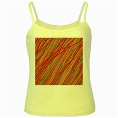 Pink and red decorative pattern Yellow Spaghetti Tank