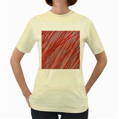 Pink and red decorative pattern Women s Yellow T-Shirt