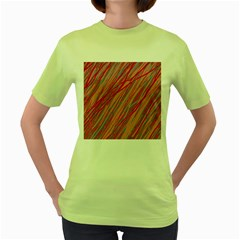 Pink and red decorative pattern Women s Green T-Shirt