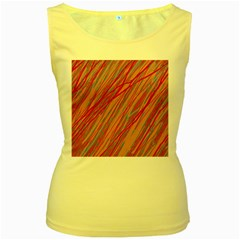 Pink and red decorative pattern Women s Yellow Tank Top