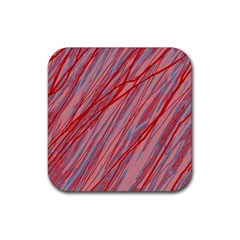 Pink and red decorative pattern Rubber Coaster (Square)