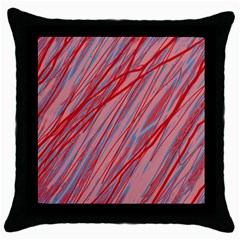 Pink and red decorative pattern Throw Pillow Case (Black)