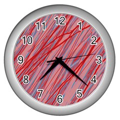 Pink and red decorative pattern Wall Clocks (Silver)