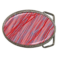 Pink and red decorative pattern Belt Buckles