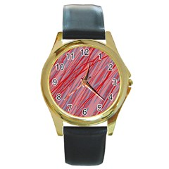 Pink and red decorative pattern Round Gold Metal Watch
