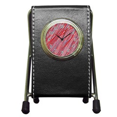 Pink and red decorative pattern Pen Holder Desk Clocks