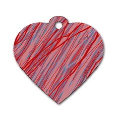 Pink and red decorative pattern Dog Tag Heart (Two Sides)